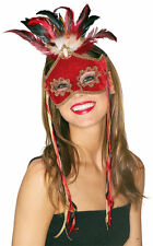 RED BIRD OF PARADISE Eye Mask w/ Feathers + Faux Pearl Gem Headpiece Masquerade