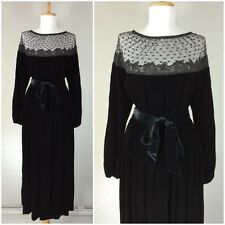 VINTAGE 1970s VICTOR COSTA BLACK VELVET LACE HOLLYWOOD GLAMOUR GOWN DRESS M