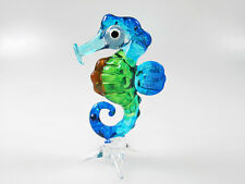 Underwater Handicraft MINIATURE HAND BLOWN GLASS Blue Seahorse Marine FIGURINE
