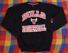 Vintage Bulls Starter Sweatshirt Sz M Black Crewneck Pullover Chicago USA Made