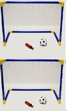 2 x Kids Football Soccer Goals Ball Pump Portable Posts Nets Indoor Outdoor Set