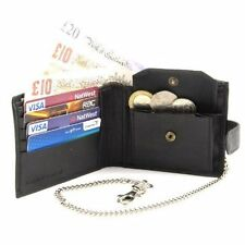 Mens Black Real Leather Wallet with Safety Chain. Soft Leather Wallet