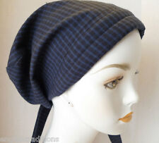 Navy Blue Checked Cancer Chemo Head 100% Cotton Scarves Turban Hair Loss Hat Cap