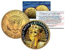 KING TUT GOLDEN DEATH MASK OF TUTANKHAMUN 24K Gold Plated JFK Half Dollar Coin