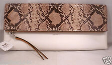 NWT COACH LEATHER LARGE CLUTCH White & Snake Print Bag Purse 30463 W/ Dust Cover