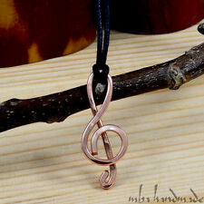 Treble Clef Pendant Hammered Pure Copper Wire Wrapped Music Note Necklace