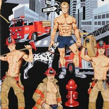 1m Ready for Action Black fabric PER METRE Alexander Henry firemen novelty fun