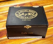 El Ray Del Mundo Cafe Noir Cigar Wooden Black Box w/ Bead Handle - Beautiful!