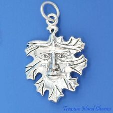 CELTIC GREEN MAN FACE IN TREE LEAF WICCA PAGAN 925 Sterling Silver Charm Pendant
