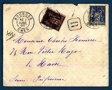 FRANCE - FRANCIA - 1895 - BUSTA - Da BOURGES (dip. dello Cher) a LE HAVRE