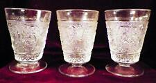 3 Sandwich Juice Tumblers Duncan & Miller #41 Clear Footed Stippled Scrolls