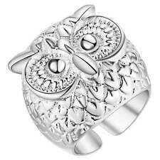 Male Female 925 Silver Ring Adjustable Owl Ring Jewelry
