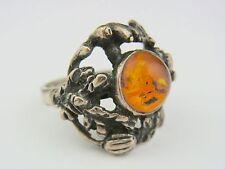 schöner alter Ring 835/- Silber Bernstein