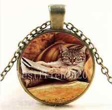 Vintage Cat Watch Book Photo Cabochon Glass Bronze Chain Pendant  Necklace