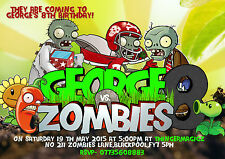 Personalised boys Birthday Party Invitations Plant vs Zombie  X 8