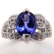 Vintage Estate 14K White Gold Tanzanite Filigree Solitaire w/Diamonds Ring ESS