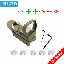 Tactical TAN Multi 4 Reticle Red & Green Reflex Dot Sight Scope Open Tubeless