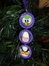 PERSONALIZED Penguin PURPLE Bottle Cap Christmas Ornament * ANY NAME* new