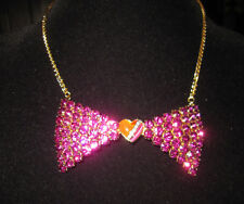 BETSEY JOHNSON 60's MOD LARGE PINK BLING BOW WITH RED HEART NECKLACE