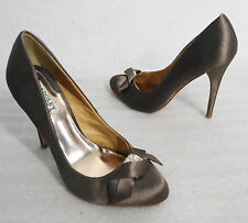 "Badgley Mischka 8M Opel Bronze Satin 4.5"" High Stiletto Heels Shoes Crystal Bow"