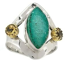 Two Tone - Green Agate Druzy 925 Sterling Silver Ring Jewelry s.7 SR201137