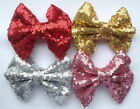 """4.5"""" Sequin Hair Bow Clip Red Pink Gold Silver Hot Pink Girl School Cheerleader"""