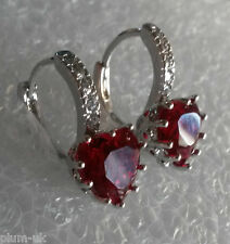 B10.Plum UK red tourmaline hearts sim diamonds 18k white gold gf earrings BOXED