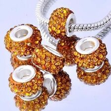 5Pcs White  Silver Champagne CZ Charms BEADS Fit European DIY Bracelet