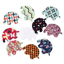 New 50pcs Mixed 2 Hole Wooden Elephant Sewing Scrapbooking Craft Buttons