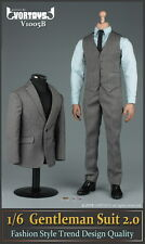 "VORTOYS 1/6 Grey Men's Gentleman suit Clothing Set Fit 12"" Male Figure Model"