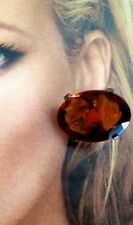 ~FABULOUS! MASSIVE YSL Yves Saint Laurent Amber Griopoix Clip On EARRINGS Signed