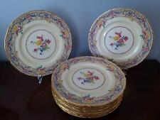 ROYAL DOULTON China 11 EXQUISITE Floral Cabinet Dinner plates w/gold rims