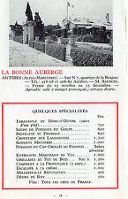 06 ANTIBES LA BONNE AUBERGE QUARTIER DE LA BRAGUE M. BAUDOIN MENU IMAGE