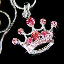 w Swarovski Crystal Bridal Tiara QUEEN ~Pink CROWN Prom Charm Pendant Necklace