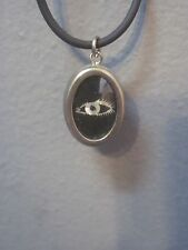 CHILDS CHOCKER 8.5 IN BLACK CORD CHOKER WITH OVAL PENDENT WITH ALL SEEING EYE