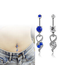 Heart Clear Crystal Navel Barbell Dangle Belly Button Ring Body Piercing Jewelry
