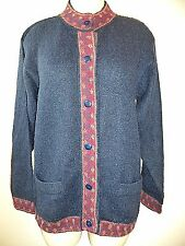 INKA TRADITIONS Baby Alpaca Womens Cardigan Sweater Hand Made Peru Navy SZ M