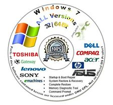 Windows 7 32 & 64-Bit Re Install Repair Recovery Boot DVD Disc Home Prem Pro Ult