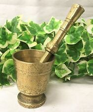 """Beautiful Etched / Engraved Eastern Solid Brass Ornate 2.25"""" Mortar And Pestle"""