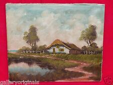OLD ANTIQUE DUTCH HOLLAND HAMLET HOUSE LANDSCAPE OIL PAINTING UN-SIGNED repair