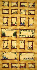 """Summer Vacation Camp Woods Cotton Fabric Frames Yellow  Riverwoods 24""""X44"""" PANEL"""