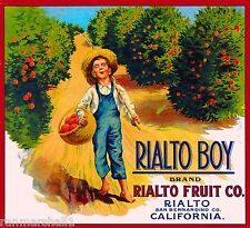 Rialto Boy California Huck Finn Orange Citrus Fruit Crate Label Art Print