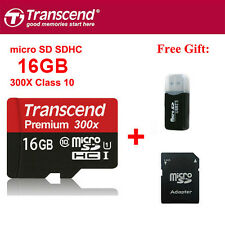 Transcend MicroSDHC Card 16GB TF Flash Memory Card With Adapter Class10 U1 C10