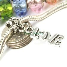Love European Dangle Charm Large Hole Slider Bead fit European Charm Bracelet