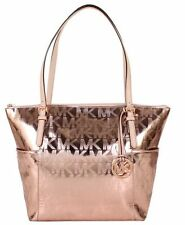 NWT MICHAEL KORS JET SET EAST WEST TOTE BAG SIGNATURE MK METALLIC ROSE GOLD