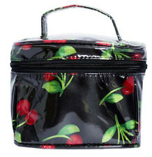 Collectif Black Cherry Makeup Pouch Waterproof Vanity Case Purse Toiletry Bag