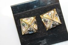 St. John Collection earrings gold tone Crystal Pyramid Stud