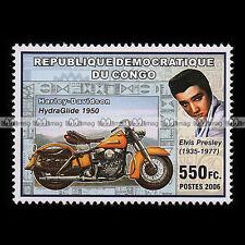 ★ HARLEY HYDRA GLIDE 1950 / ELVIS PRESLEY ★ CONGO Timbre Moto Motorcycle #262
