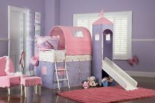 Powell Princess Castle Twin Tent Bunk Bed Slide Pink Purple Girls Tower Loft New
