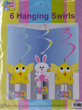 Set Of 6 Hanging Spiral Easter Decorations - Comic Bunnies And Chicks